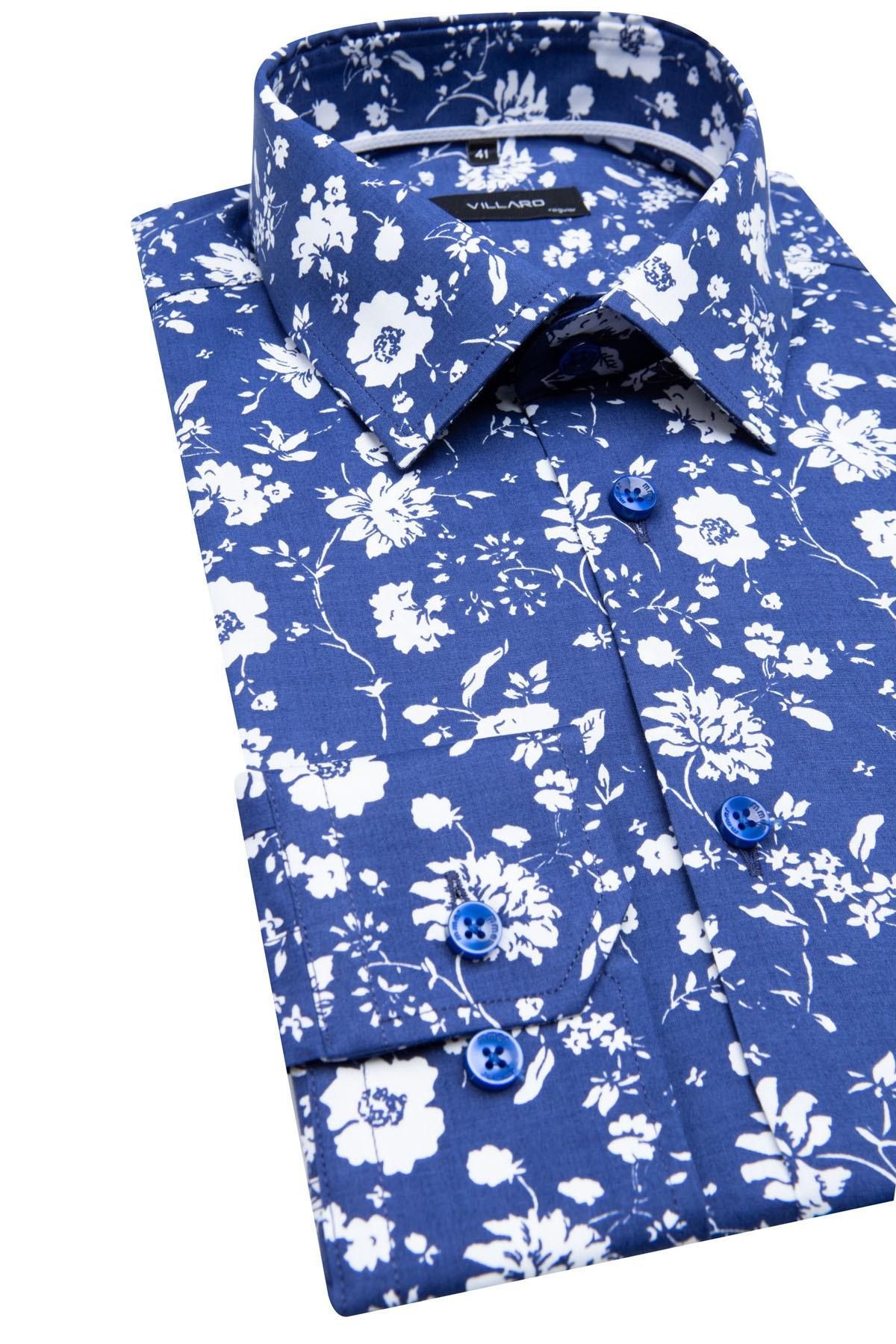 Koszula męska w kolorze granatowym w kwiaty  Z6Ii0