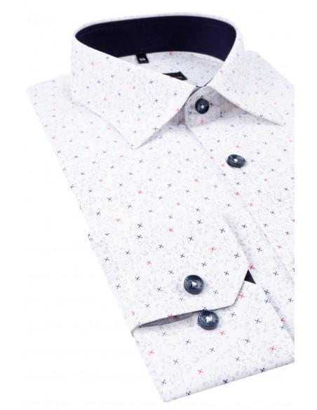Biała Koszula Męska VILLARO Nadruk z długim rękawem  GfvXa